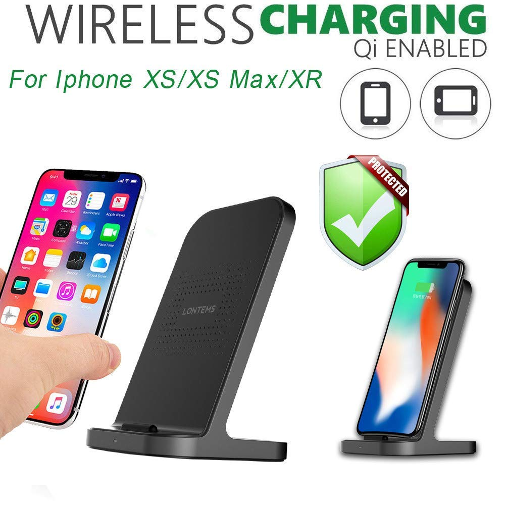 USHOT Qi Wireless Charger Stand Phone Bracket Quick Charger for iPhone Xs/Xs Max/XR, iPhone Xs Accessories-Phone case/creen Protector/Tempered Film/Charger