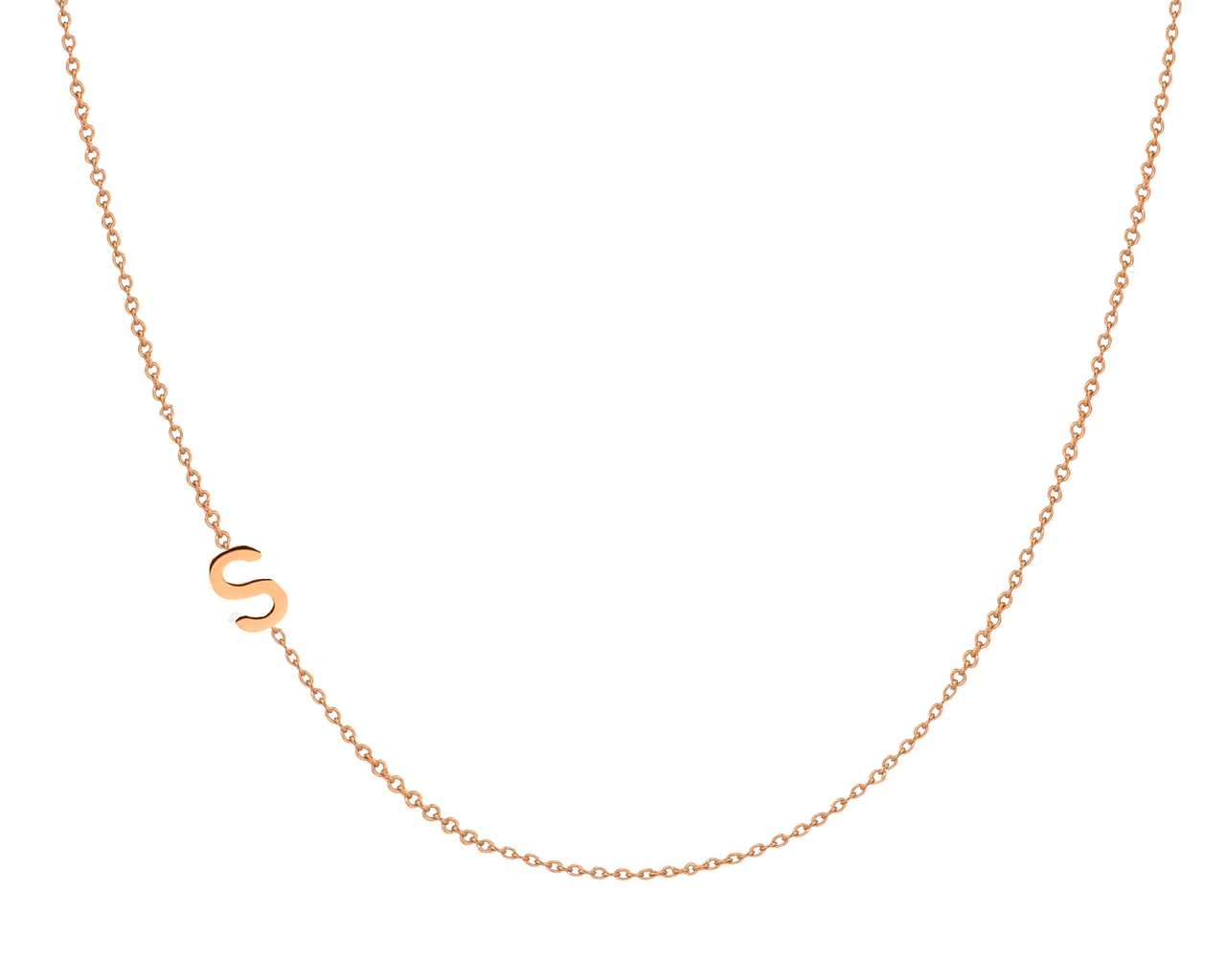 Alphabet Gold Laying Sideways Necklace in 925 Sterling <strong>Silver</strong>