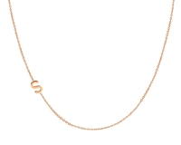 Alphabet Gold Laying Sideways Necklace in 925 Sterling Silver