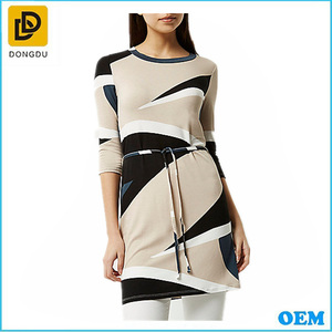 100% Cotton stretch women printed stretch-jersey belted formal ladies dress tunic