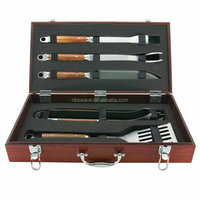 5-Piece Forged Grilling Tool Set in Wood Carrying Case
