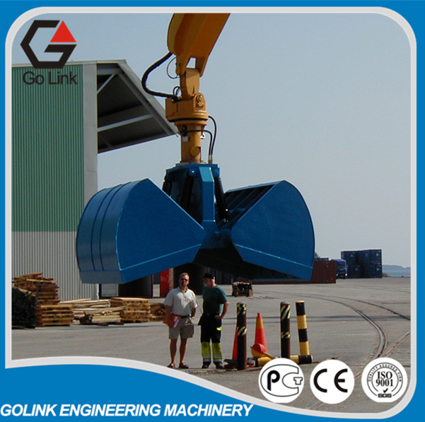 Excavator rotating clamshell grapple bucket for bulk material