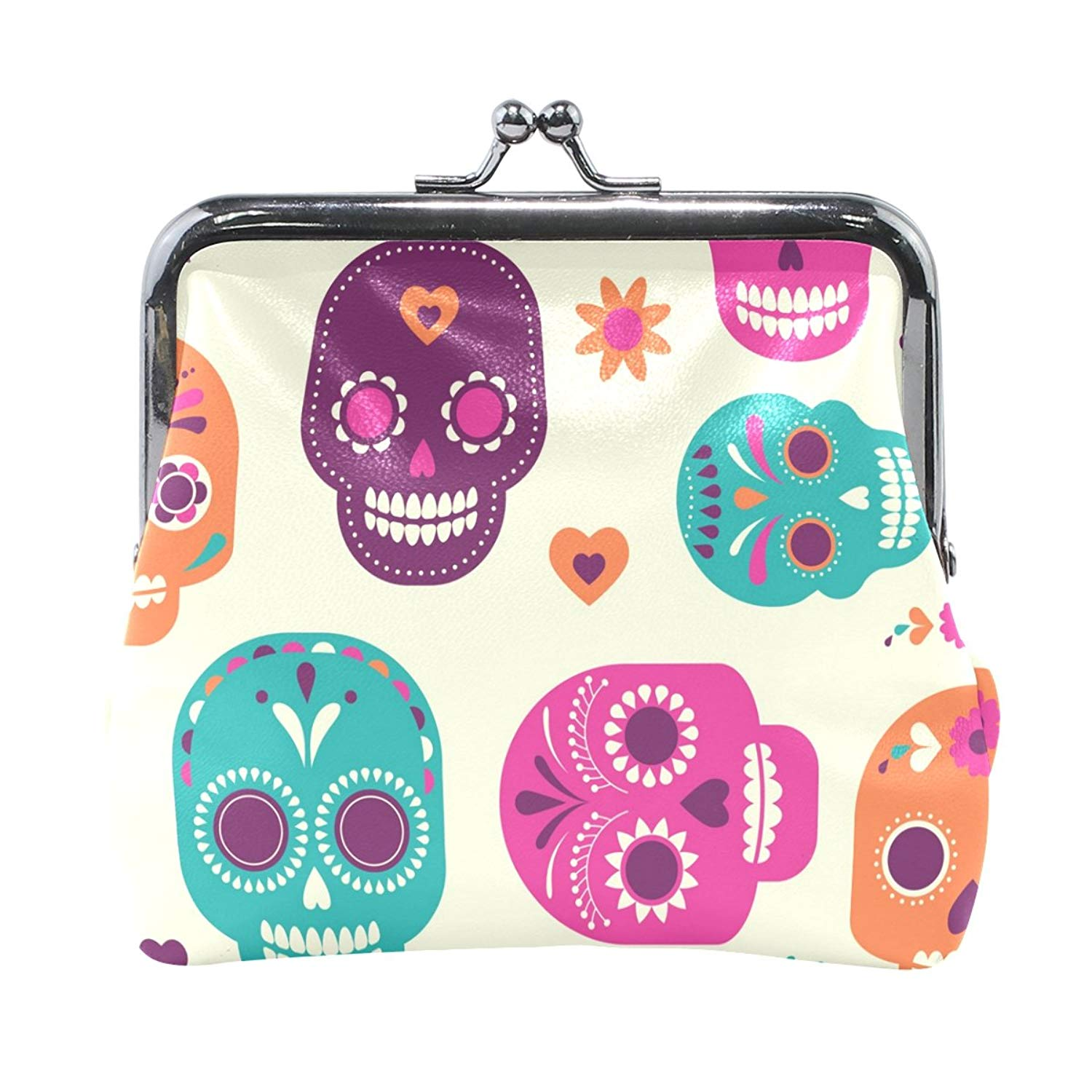 Colorful Skull Cute Pattern High Grade Leather Coin Purse Snap Closure Clutch Coin Wallet