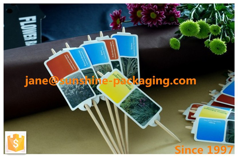 Stone paper labels with stick for flowers and plants