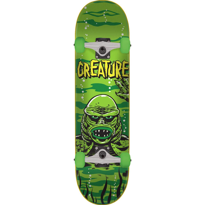 "Creature Skateboards Black Lagoon Green Mid Complete Skateboards - 7.5"" x 30.6"""