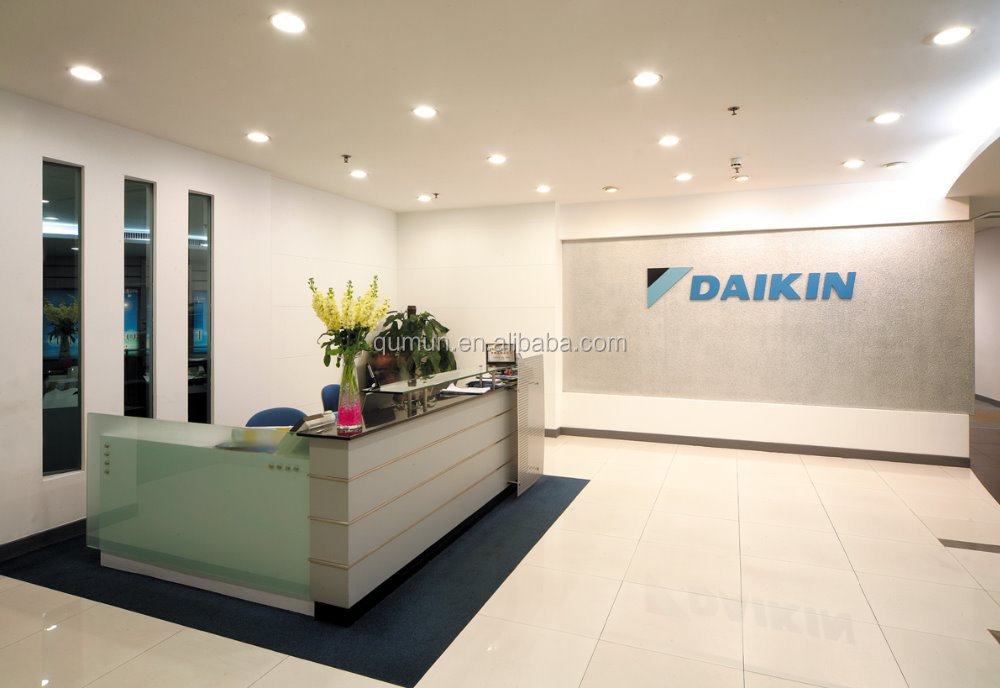 China manufacturer office furniture acrylic solid surface for L shaped salon reception desk