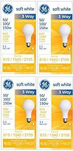GE Lighting 50/100/150-Watt, 3-Way Light Bulb, Soft White, 4-Pack Style: 615/1540/2155-Lumens Size: 4-Pack Model: (Hardware & Tools Store)