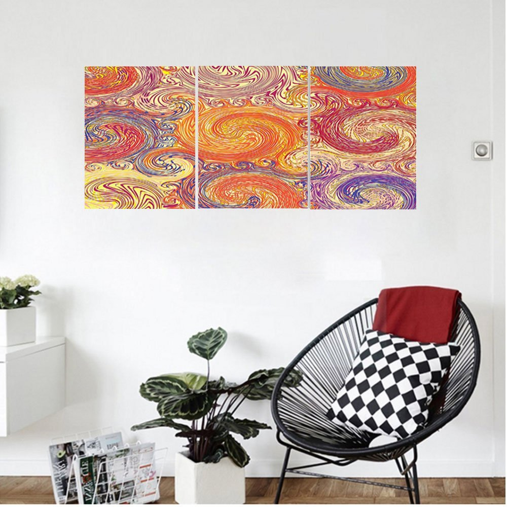 Liguo88 Custom canvas Grunge Home Decor Grunge Swirl Patterns Brush Style Waterpool Waves Nested Colors Boho Marbling Artprint Bedroom Living Room Decor Multi