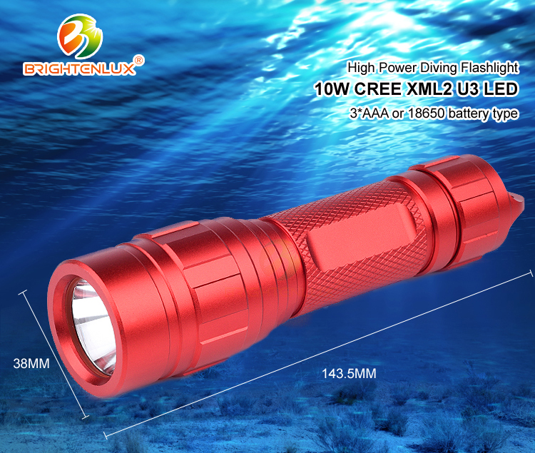 2018 Led Waterproof Rechargeable Tactical High Power 10W Diving Led Flashlight