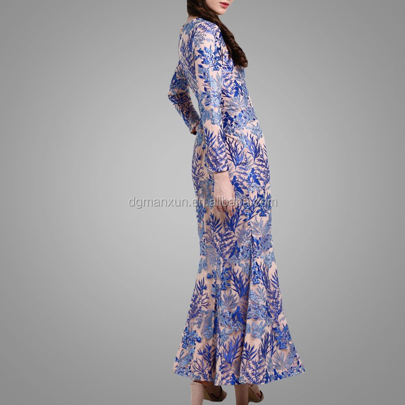 royal blue lace mermaid fashion muslim dress