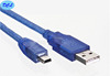 1.8M USB2.0 cable Male to Mini 5PIN Transparent blue model