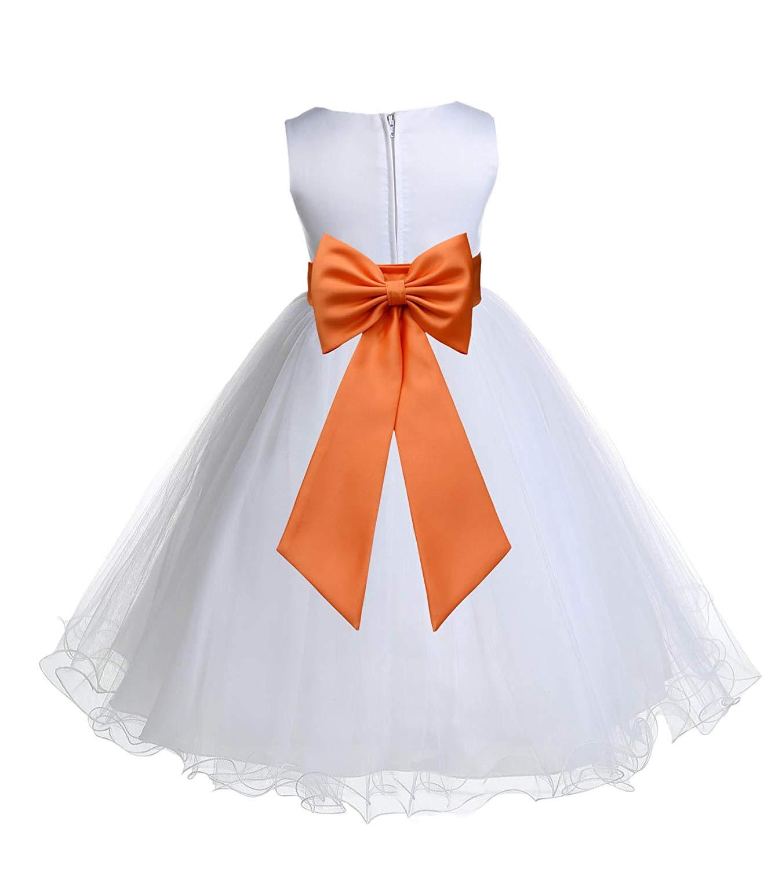 2f83f61db99 Get Quotations · ekidsbridal White Tulle Rattail Edge Toddler Flower Girl  Dress Ball Gown Tulle Dress 829T