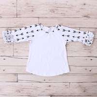 Arrows pattern fancy top ruffle 3/4 sleeve raglan girl t shirts printed designs