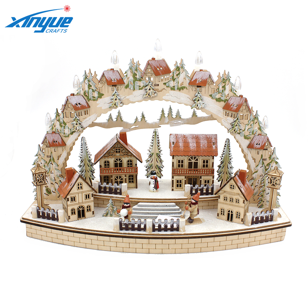 Creations Traditional Wooden Village Scene With Lights For Christmas Decoration Buy Festive Christmas Village With Battery Operated Led Christmas