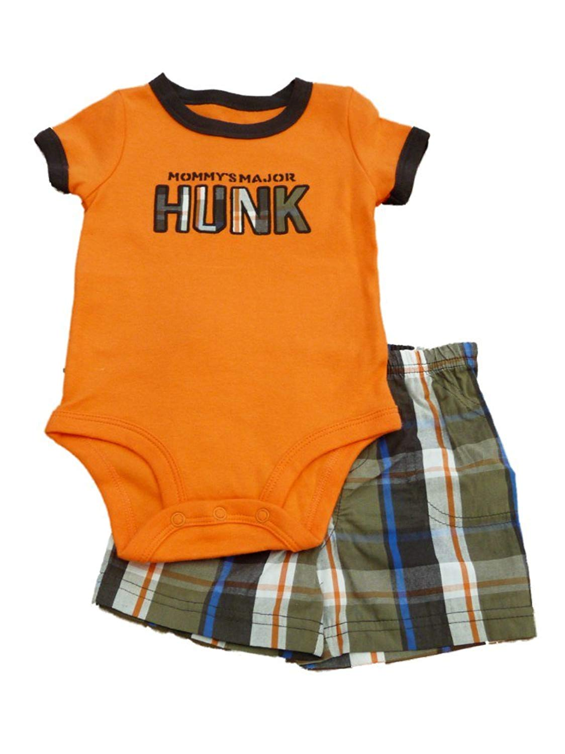 dc1b49e3aa Get Quotations · Carters Infant Boys Mommy's Hunk Orange Creeper & Brown  Plaid Shorts ...