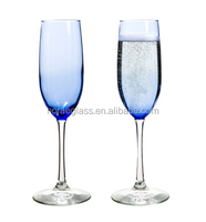 Glassware manufactory wholesale 8oz Blue Tinted Glass Champagne Flutes for wedding gifts