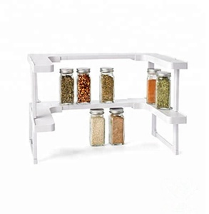 2 Layers Kitchen Plastic Expandable Spice Shelf Rack Organizer