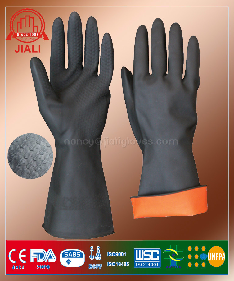 high quality heat resistant latex insulating gloves/industrial rubber gloves/industrial latex rubber hand gloves