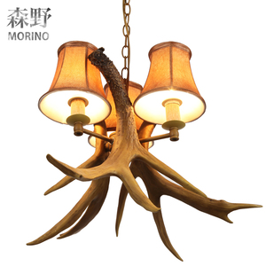 Faux Elk Antler Chandelier Rustic Style with lamp shade for vintage countryside
