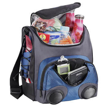 Custom picnic cooler box with radio, fashion outdoor cooler backpack with speaker