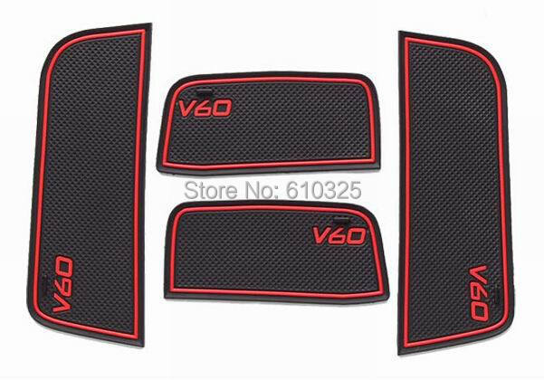 Car Red Gate Slot Pad Cup Mat Armrest Storage Pad Anti-Slip Mat For VOLVO V60 Retail/Set Free Shipping