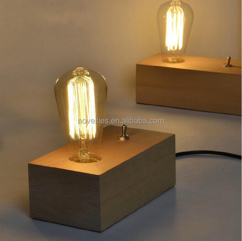Double Head Edison Bulbs Table Lamp With Handmade Wooden Lampbase ...