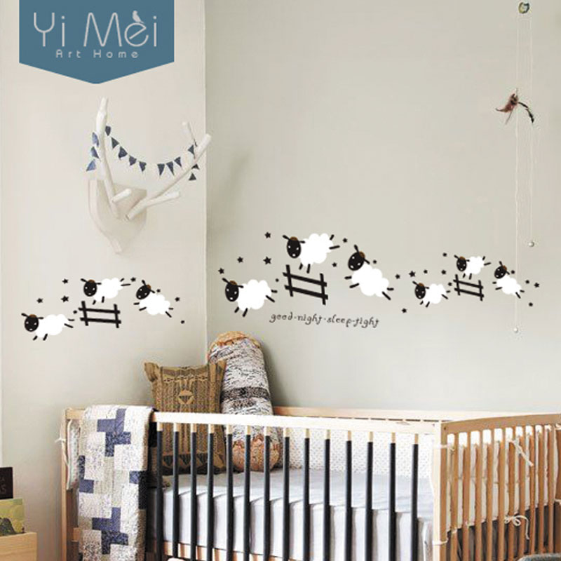 buy kawaii cute jumping sheep wall stickers home decor diy vinyl art decal baby. Black Bedroom Furniture Sets. Home Design Ideas