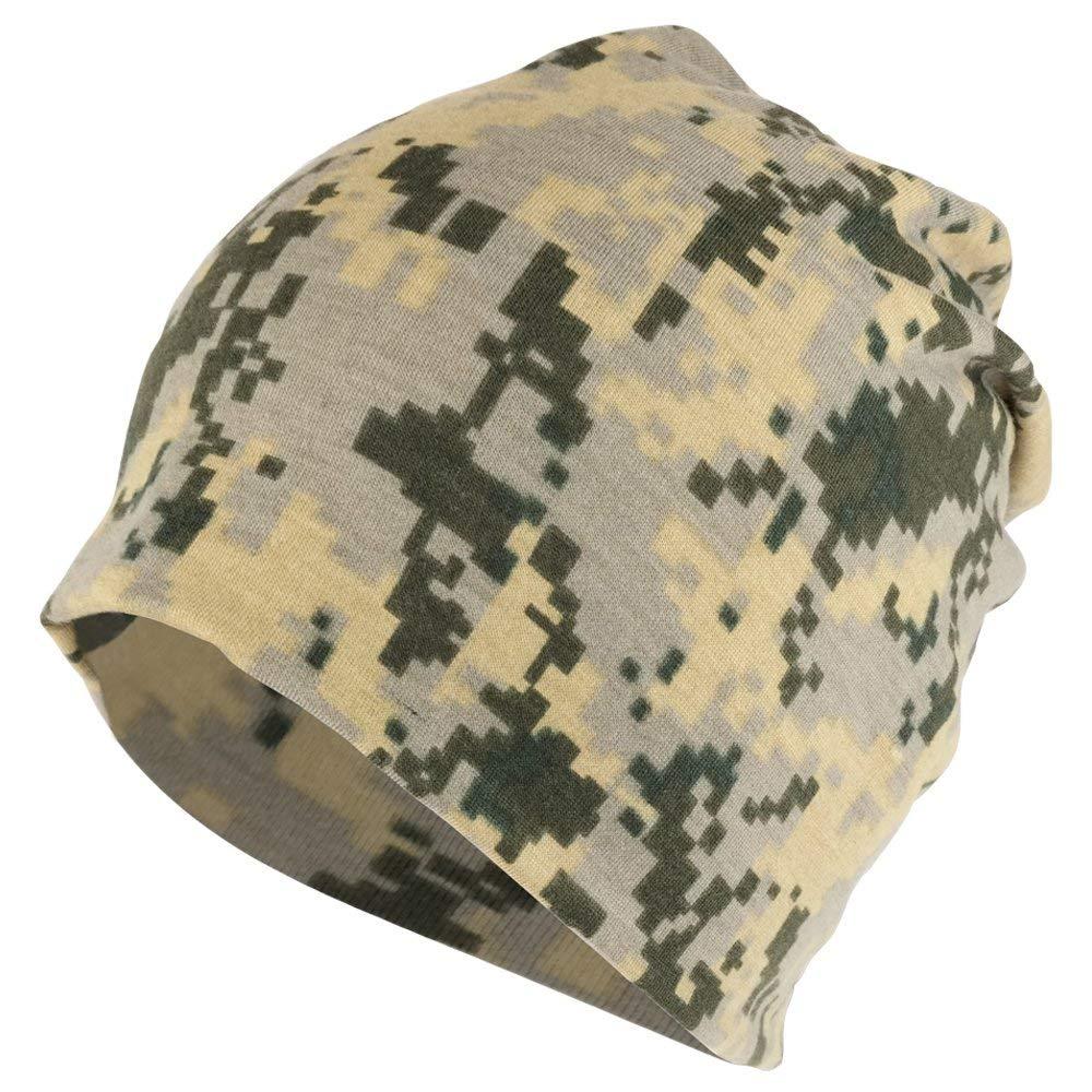 417cc8cdd8de7 Get Quotations · Armycrew Digital Camouflage Polyester Jersey Knit  Lightweight Soft Beanie Cap