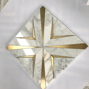 carrara white marble water jet mosaic gold metal brass inlay luxury wall tile