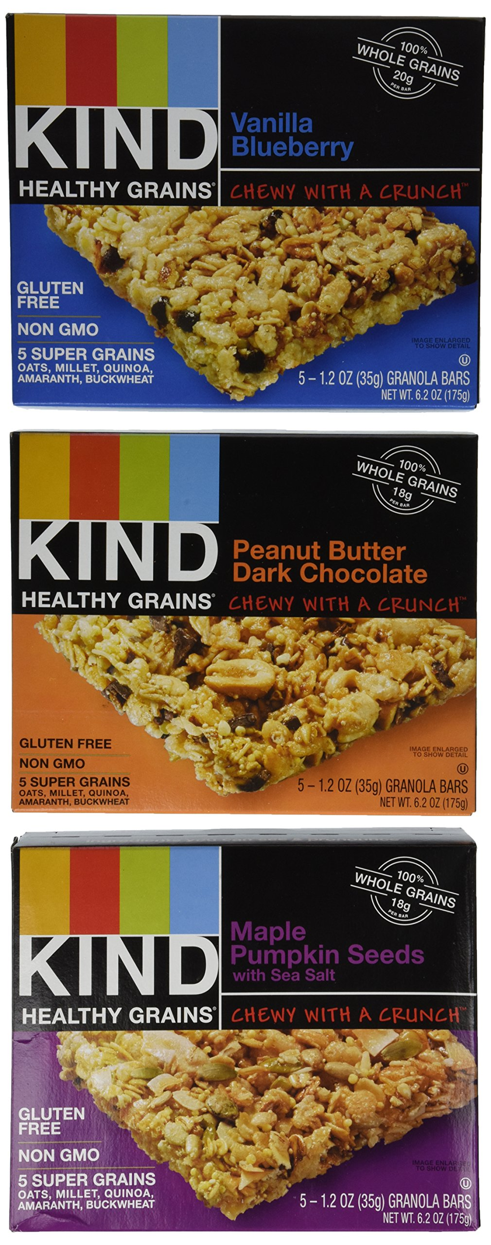 KIND Healthy Grains Granola Bars, Three Flavor Variety Pack, Gluten Free, 1.2oz Bars, 15 Count