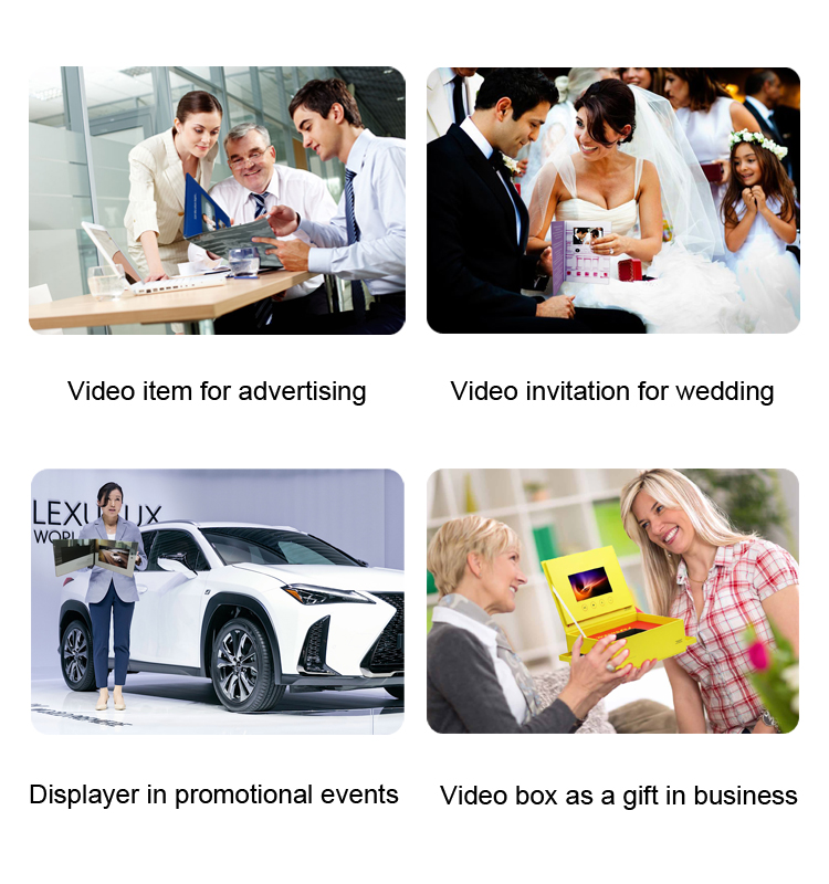 "Customized 5"" 7 inch lcd folder HD video book business card video greeting card digital brochure"