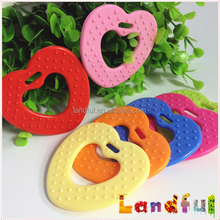 Mixed Color Plastic Heart Shape Toy Safety Silicone Baby Teether