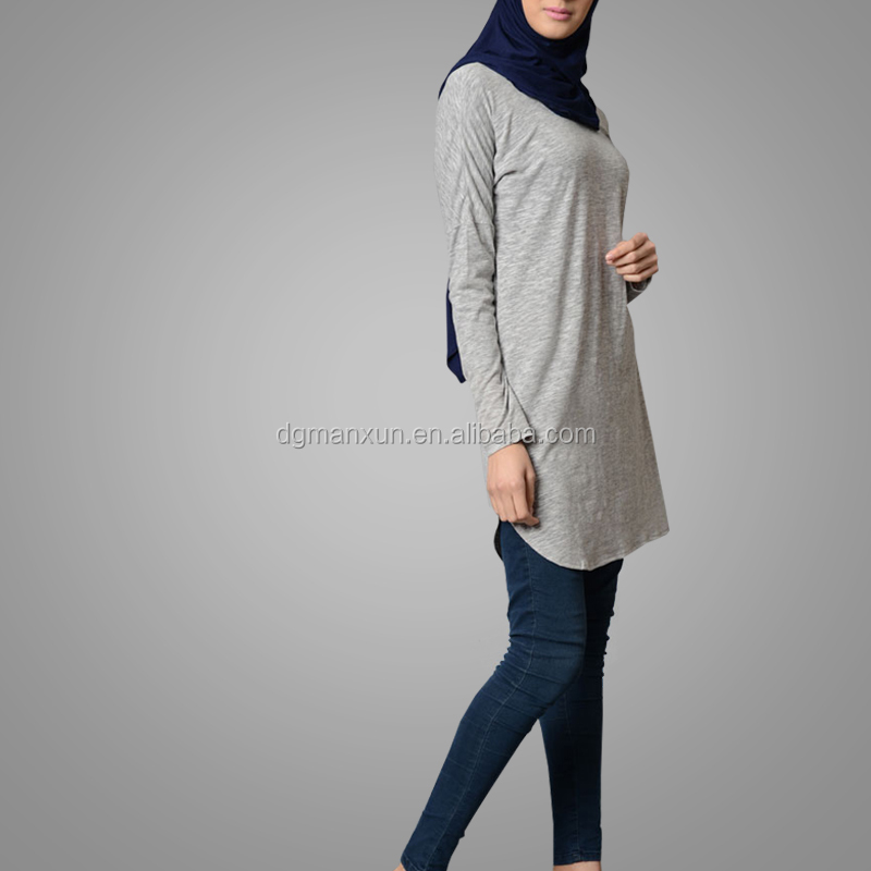 Muslim Lady Light Grey Simple Plain Cotton Tunic Long Sleeve Elegant Tops Islamic Clothing
