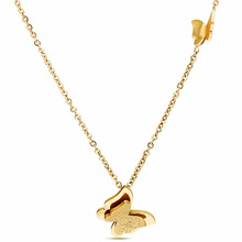 Hainon Simple en acier titane collier papillon dames rose or Doux collier en gros