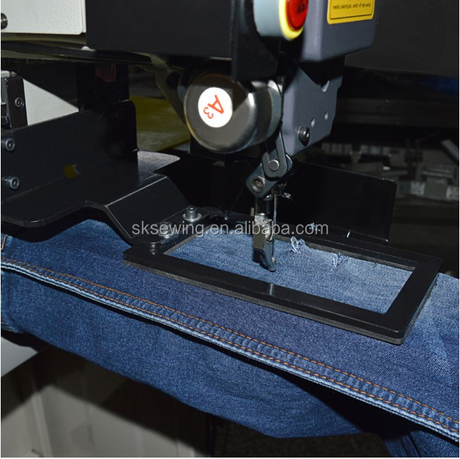 Computer programmable electronic industrial sewing machine for jeans