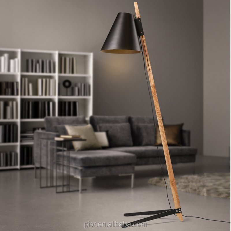 chinese supplier can adjust of aluminum lamp shade decorative wood floor lamp