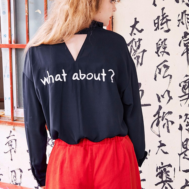 Oversized Custom Women Long Sleeves Embroidered Shirt In Black