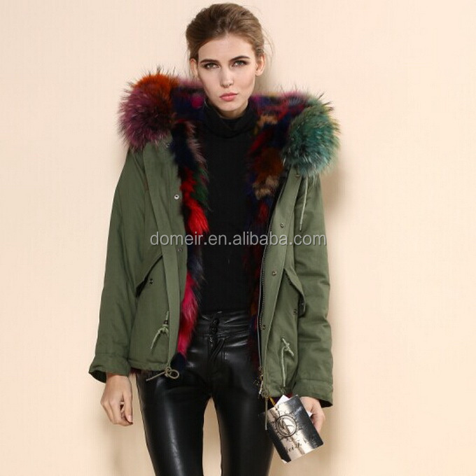 Top Selling Real Fox Fur Hooded Parka Colourful Warm Linde Real ...
