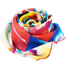 Custom Logo Design Digital Printed Scarf Chinese Twill Silk Scarf