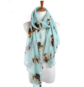 Lovely Dog Pugs Printing Voile Scarf/ Large Beach Dog Print Scarf 2018 Wholesale Women