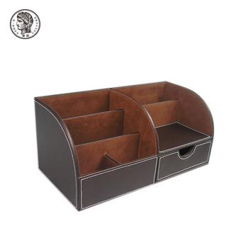 Cardboard Faux Leather Office Wooden Desk Organizer