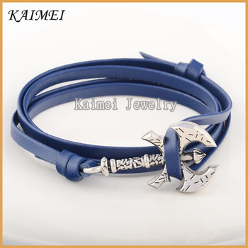 Online Suppliers Stainless Steel Clasp Navy Blue Genuine Leather Bracelet Maker In China