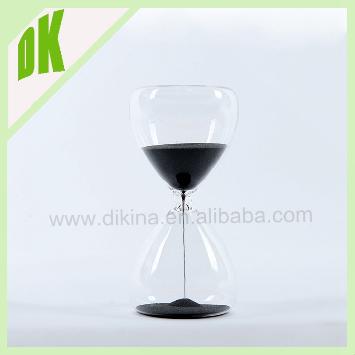Gorgeous large clear hourglass with black sand. hourglass - 30 minute timer. wholesale custom glass sand timer