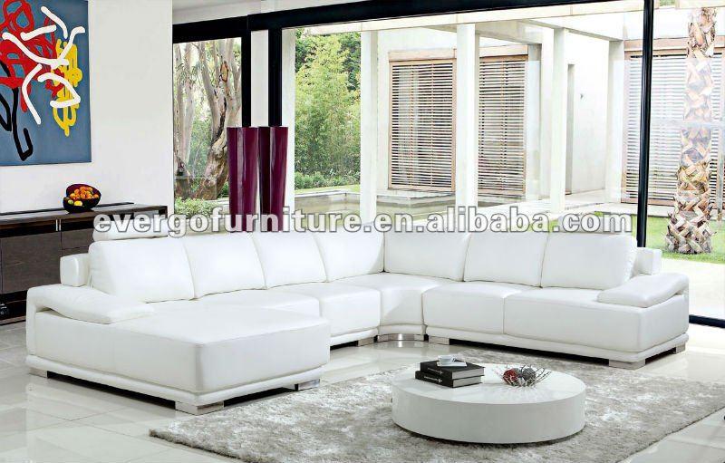 En forma de u sof de cuero blanco de dise o esquina for Muebles esquina para salon
