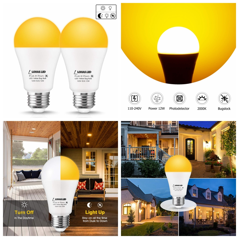 12W 2000K Dusk to Dawn Light Sensor Mosquito Repellent LED Bulb
