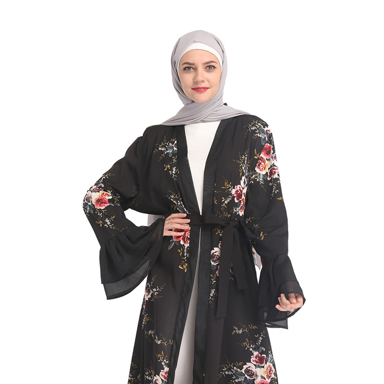 Printing 2019 Designs Fashionable Pakistan Abaya White Winter Knitted Sweatshirt Cardigan With Pocket
