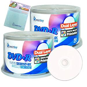 Smartbuy 100-disc 8.5GB/240min 8x DVD+R DL White Inkjet Hub Printable Blank Media Disc + Free Micro Fiber Cloth