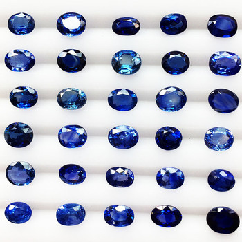 oval facetted cut gemstone with different size for jewelry making Sri Lanka natural unheated blue sapphire loose stone