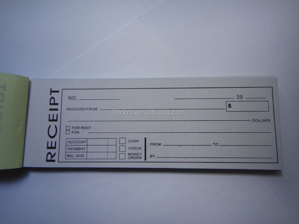 Carbonless Cash Money Rent receipt record book 2 part 50 sets duplicate copy