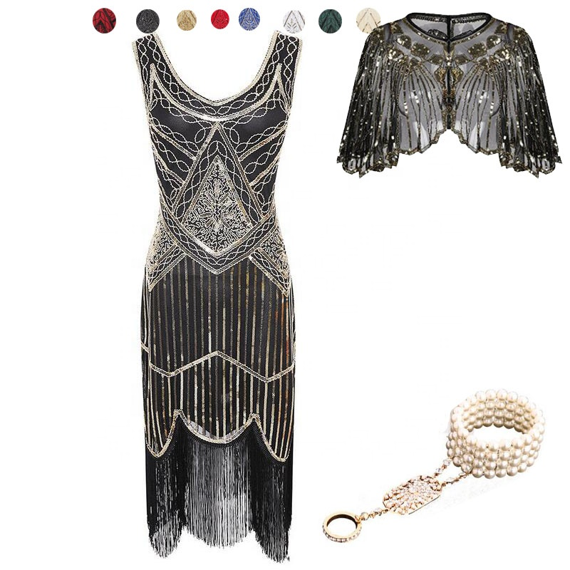 ecowalson 1920s Short Prom <strong>Dresses</strong> Round Neck <strong>Inspired</strong> Sequins Cocktail Flapper <strong>Dress</strong>